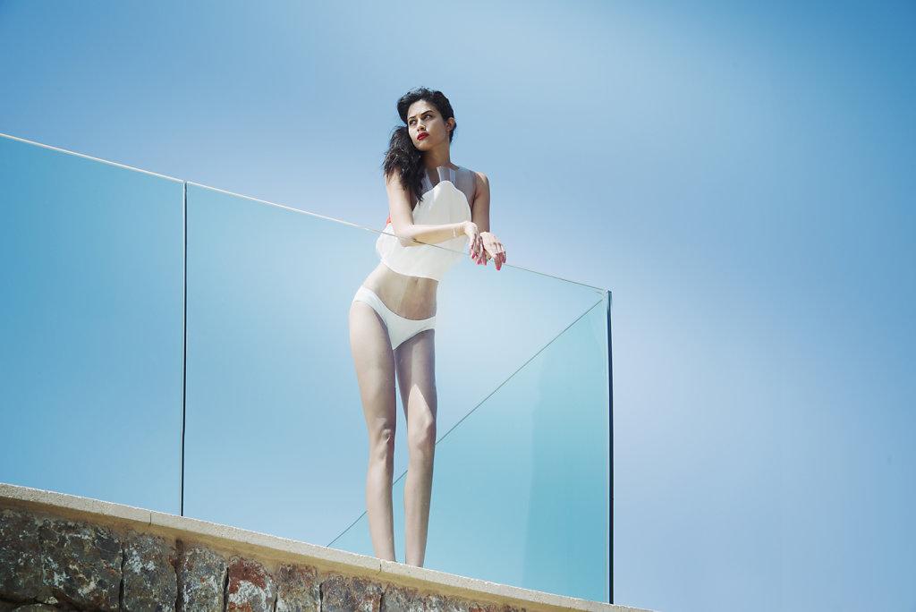 a girl on a balcony